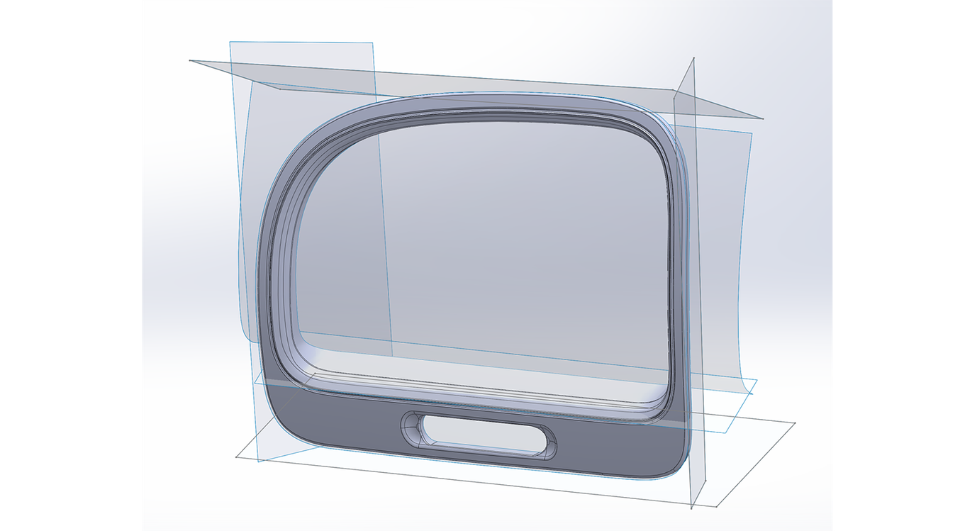 Screenshot aus Geomagic for Solidworks, der die nachgebildete Oberfläche nach der Nachbearbeitung zeigt.