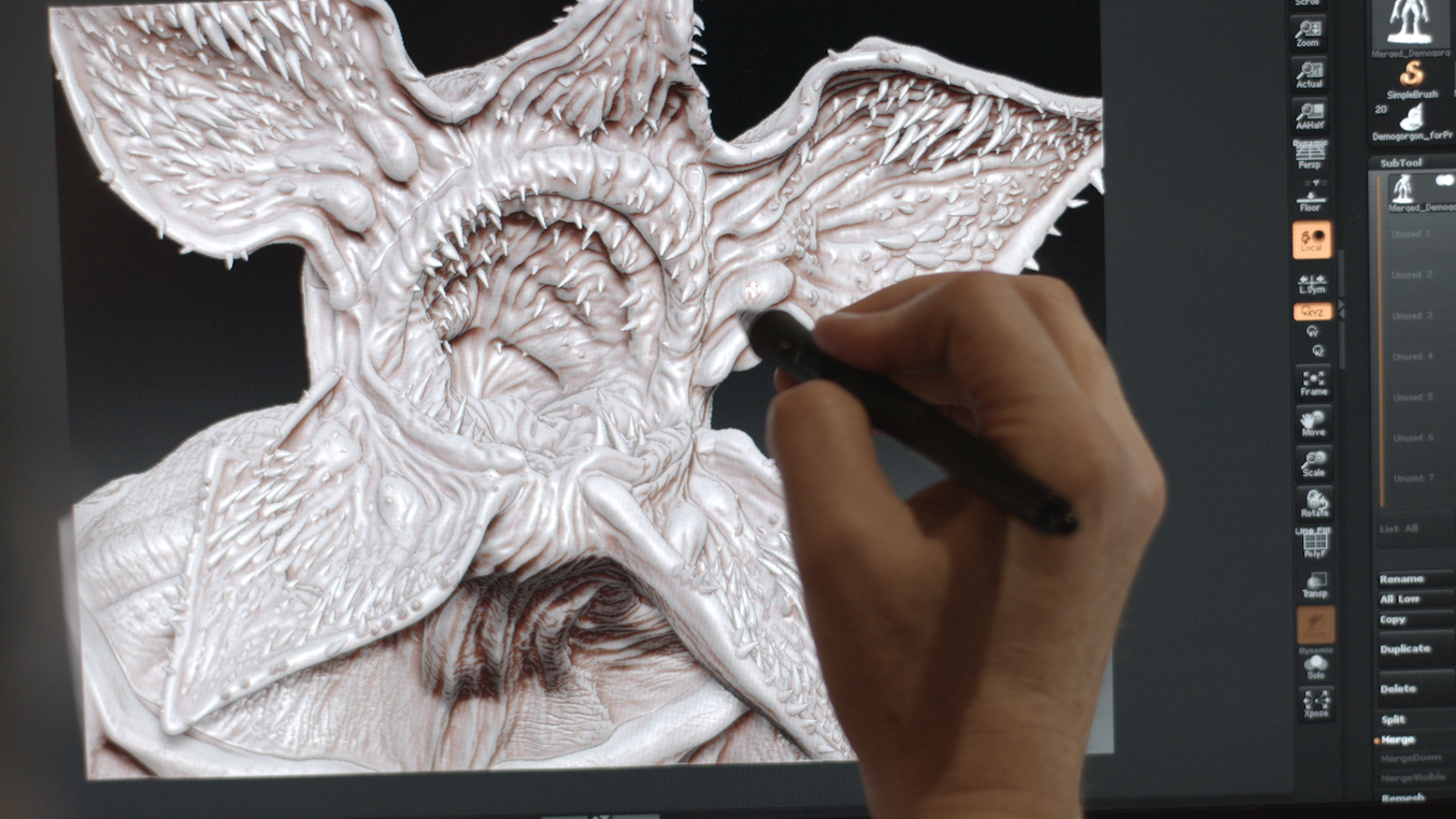 Aaron Sims Creative creating the Stranger Things' Monster digital 3D assets for 3D printing.
