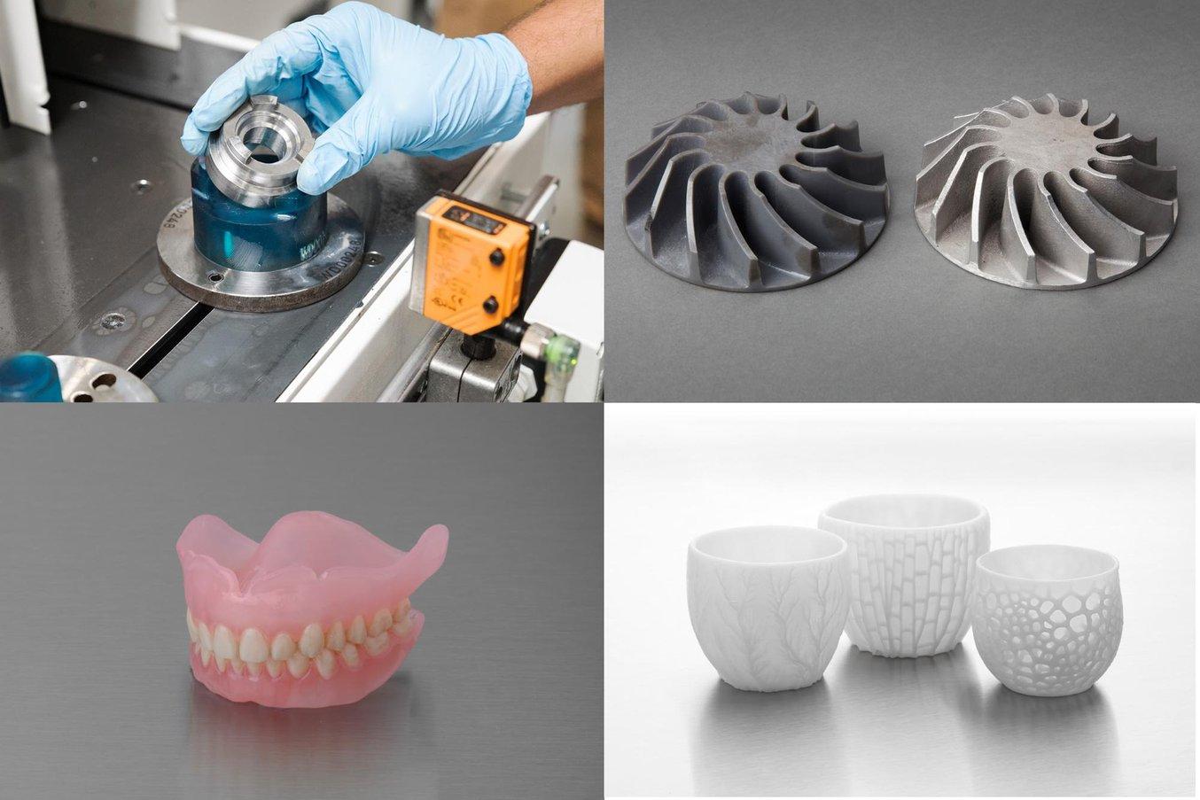 Vier Teile, die mit demselben SLA-3D-Drucker hergestellt wurden. eine Vorrichtung in einer automatisierten Fertigungsstraße in einer Automobilfabrik; ein mithilfe eines 3D-gedruckten Modells gegossenes Metallteil; biokompatible Prothese; Keramikgeschirr