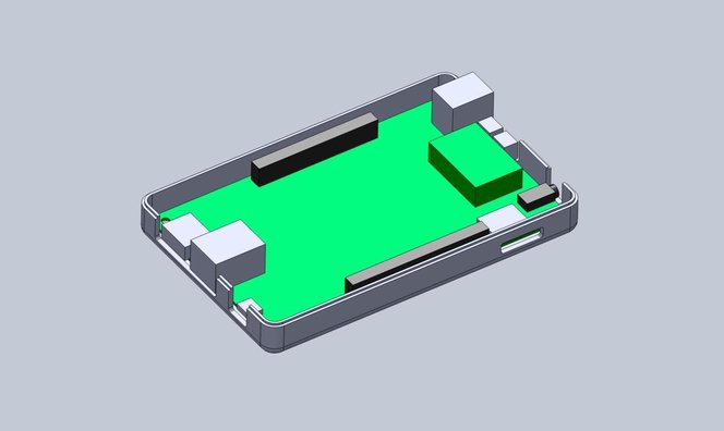 3d printing snap fit - Add extruded cuts and cutouts to the bottom enclosure to fit ports.