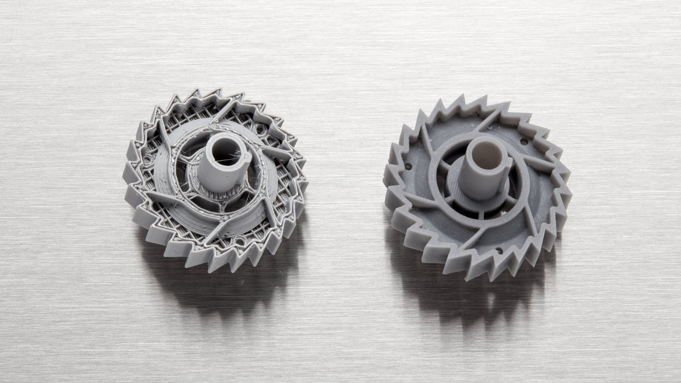 FDM printers struggle with complex designs or parts with intricate features (left), compared to SLA printers (right).