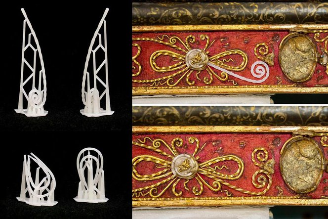 Le parti stampate sono state dipinte nello stesso colore dell'opera e successivamente inserite nella cornice.
