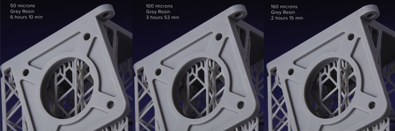 3d printing resolution - Grey Resin can now print at 160mm. See the speed and time difference for yourself.