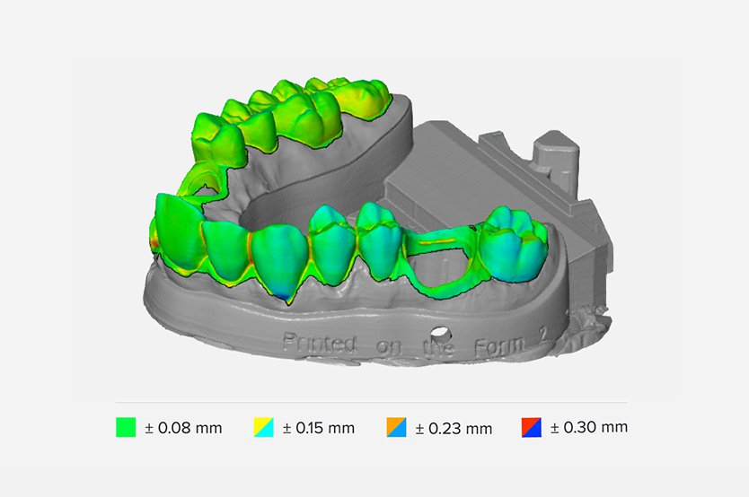 Margins, die surfaces, and contact points printed in Formlabs Dental Model Resin are accurate within ±35 microns of the digital model over 80 percent of surface points when printed on 25 micron print settings.
