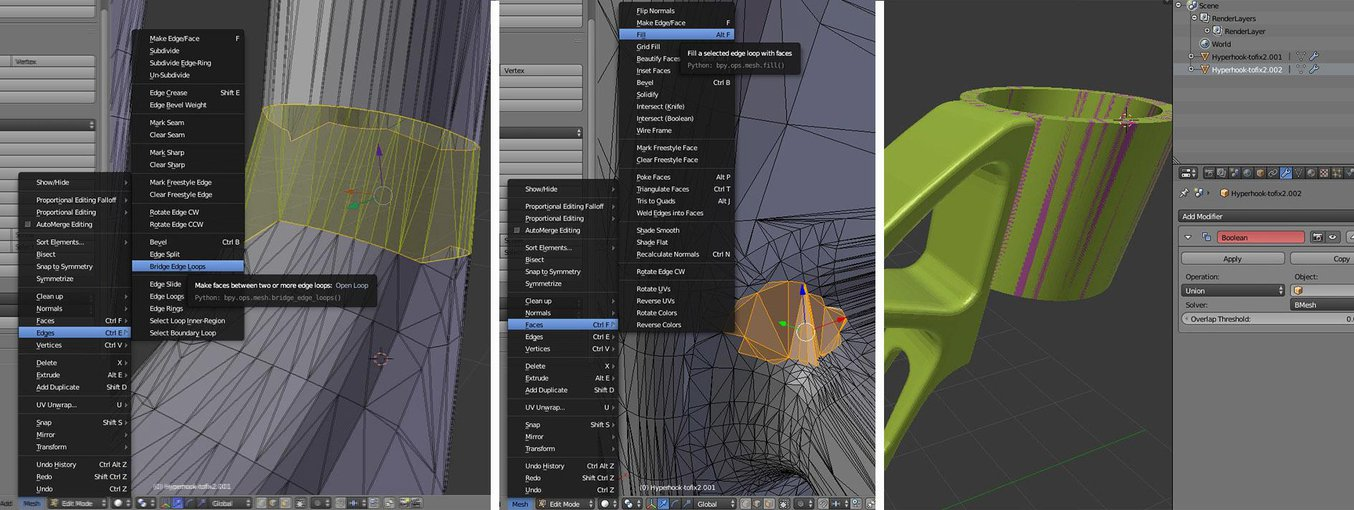 Bridging, hole filling, and Boolean functions are all represented in Blender.