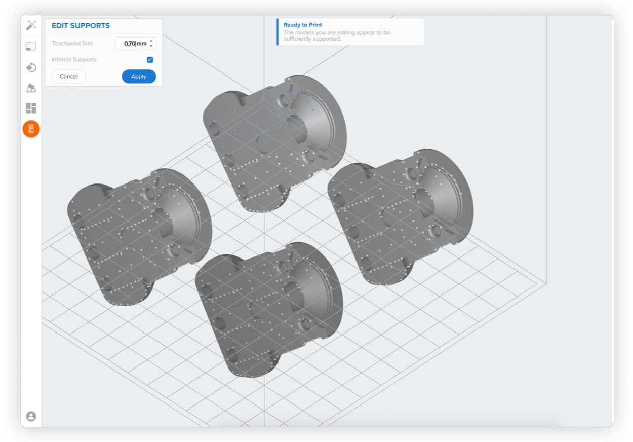Edit Supports - Preform Software - 3D printing