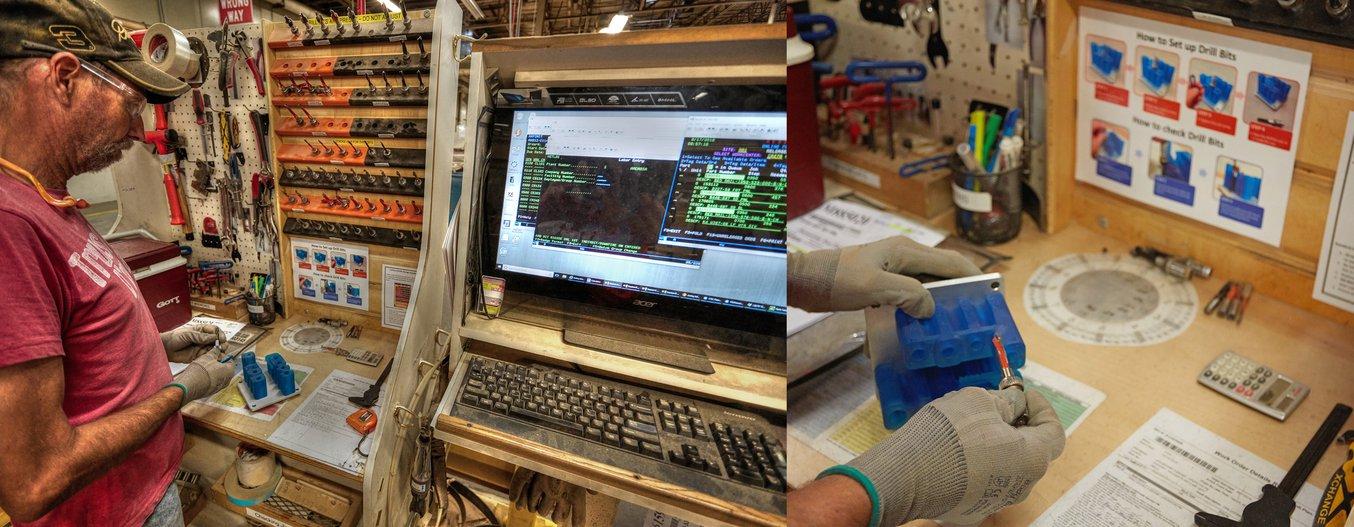 Eine Werkzeugführung aus Tough Resin mit einfachen Anweisungen, die einem Arbeiter dabei helfen, Bohrer zu überprüfen.