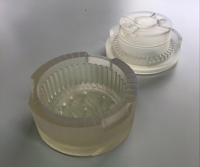 Printed mold in Clear Resin for wax injection.