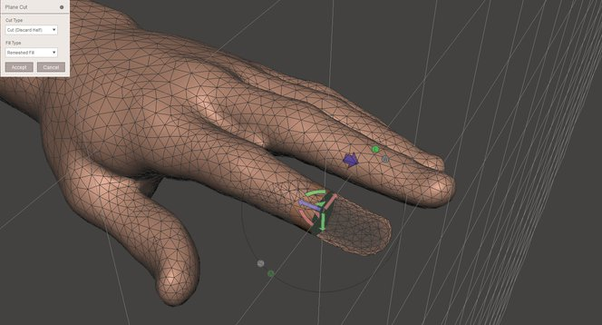 Meshmixer tutorial - The Plane Cut command applied to a selection cuts off a specific area without affecting others.