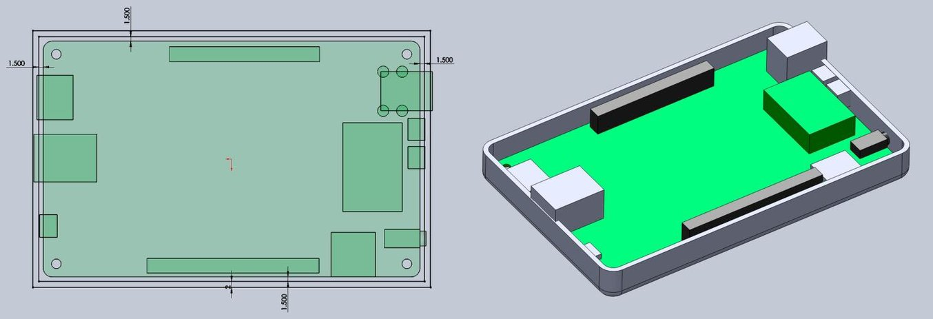 Оставьте пространство между краями электронного компонента и корпуса (слева). Создайте стенки нижней части корпуса в 3D-модели (справа).