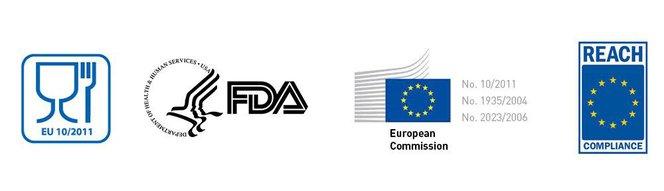 Diese Kennzeichnungen bedeuten die Genehmigung durch die US-amerikanische FDA bzw