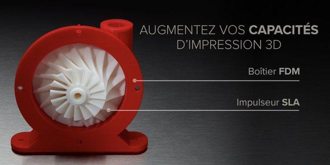 Pièces imprimées en 3D - Boîtier FDM et Impulseur SLA