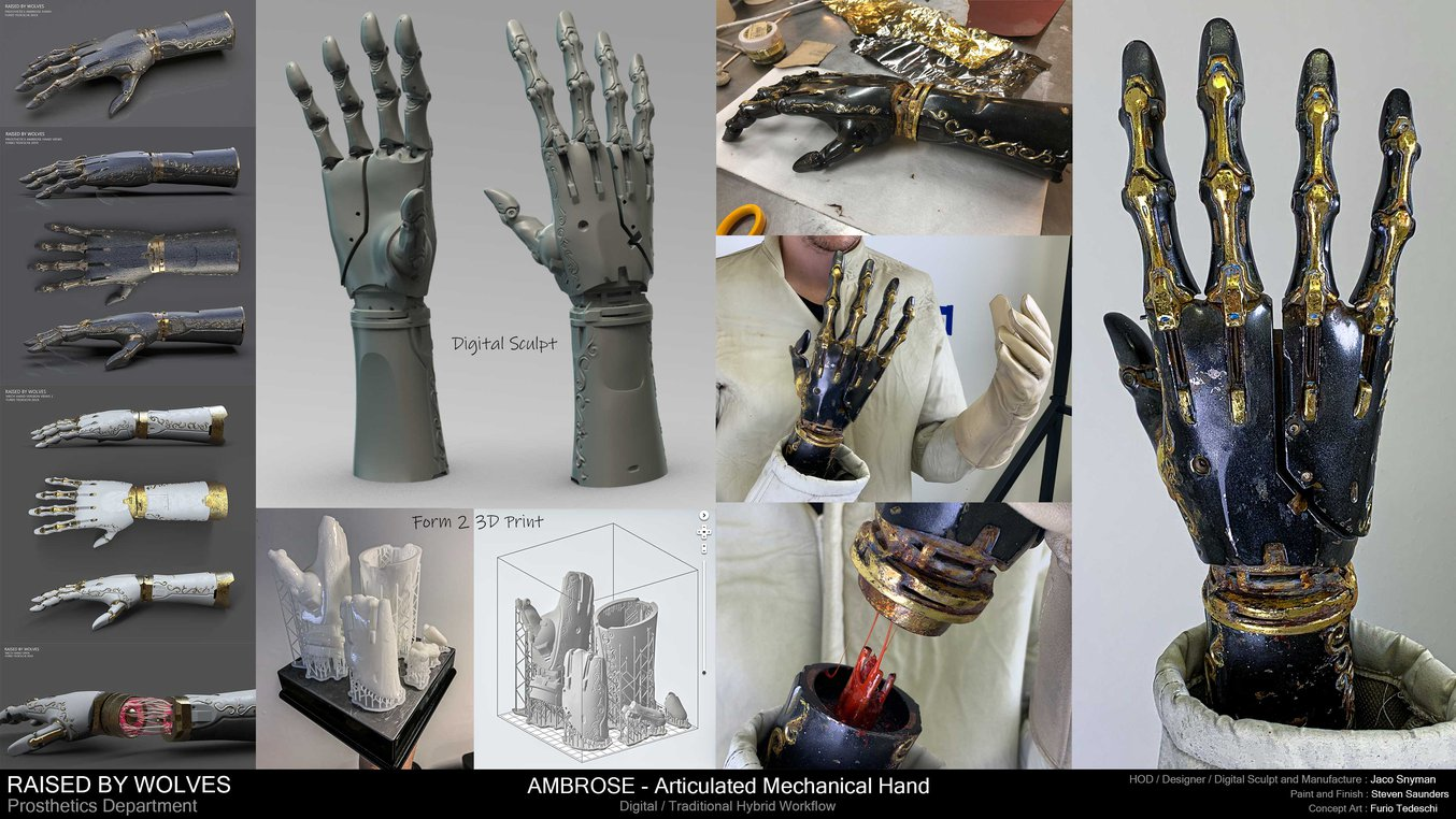 3D printed mechanical hand for Raised by Wolves series.