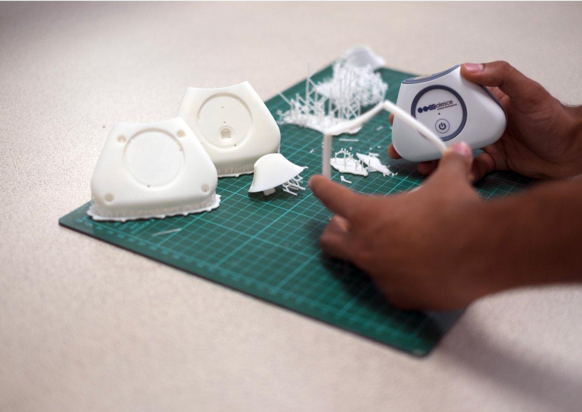 Hands holding dental model