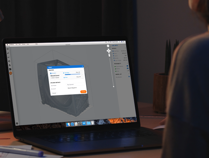 Diseño - Diseña tu modelo con el software CAD estándar y después importa el archivo STL o OBJ a nuestro software de preparación de la impresión, PreForm.