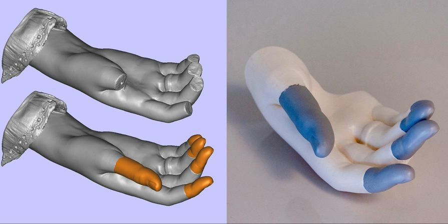 Mercante ha ricostruito le dita mancanti di una scultura funeraria in marmo partendo da una scansione 3D della mano rotta e da un modellino di gesso. Ha testato le parti su una replica stampata in 3D della mano prima di attaccarle alla scultura.