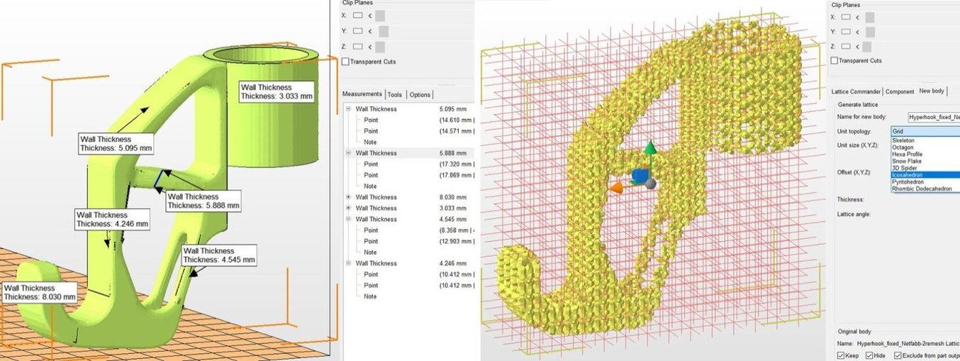 Advanced Netfabb functions: wall thickness analysis and lattice structures.