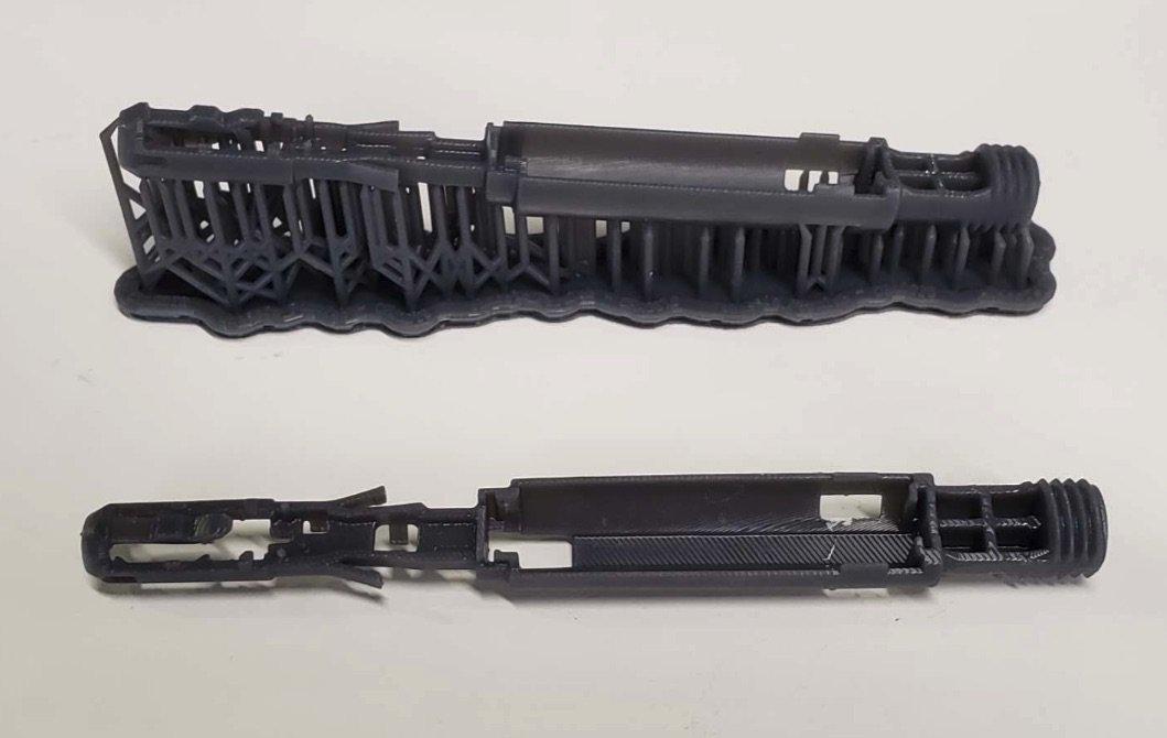 Der Chassis-Prototyp einer elektrischen Zahnbürste, der mit Tough 2000 Resin von Formlabs gedruckt wurde.