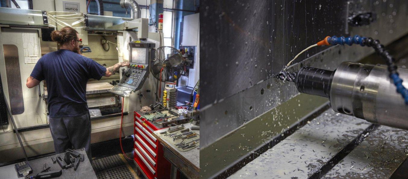 Bearbeitungswerkzeuge im Einsatz in der Werkstatt von A&M Tool and Design.