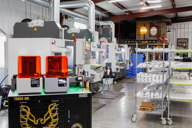 Formlabs Form 2 SLA 3D printers in the Ringbrothers automotive shop.
