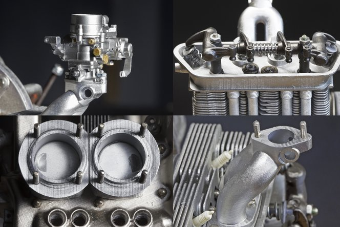 Particolari del motore della Porsche 356.
