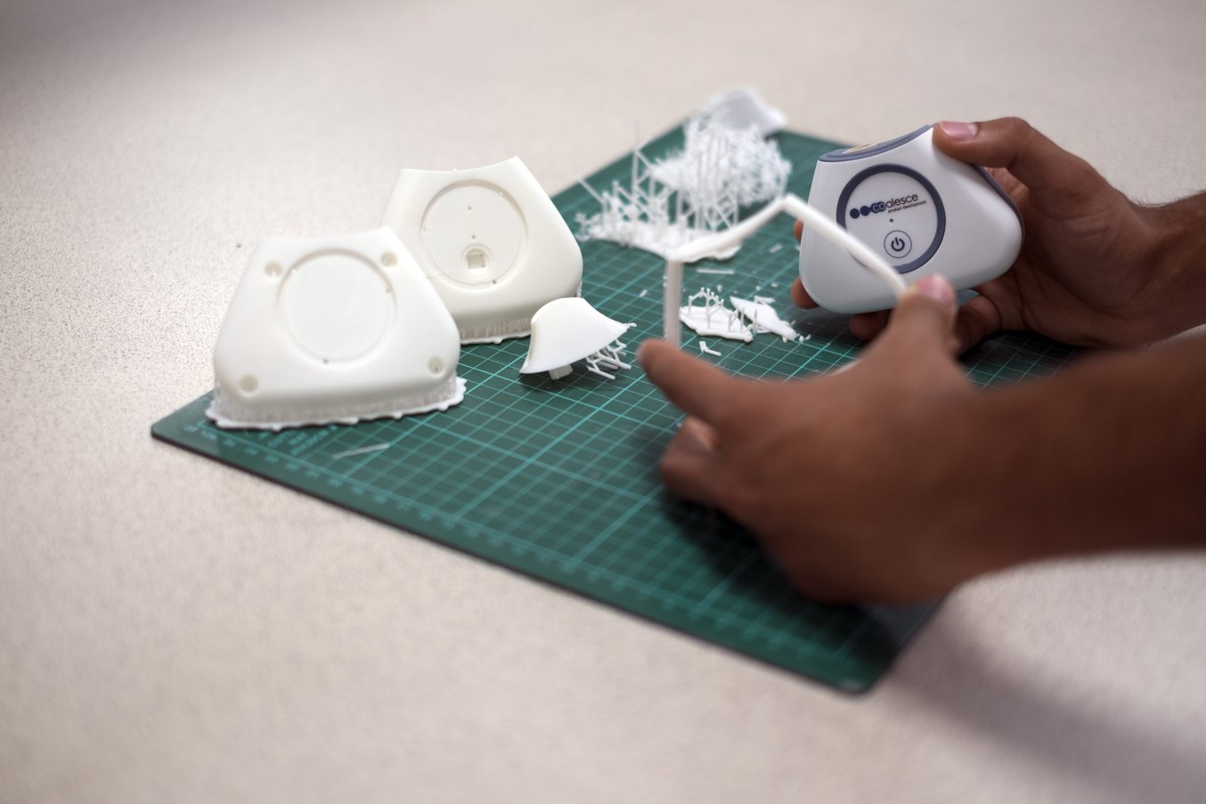 In the post-processing phase, Chhabildas removes the supports and prepares the 3D printed parts for priming, painting, and assembly.
