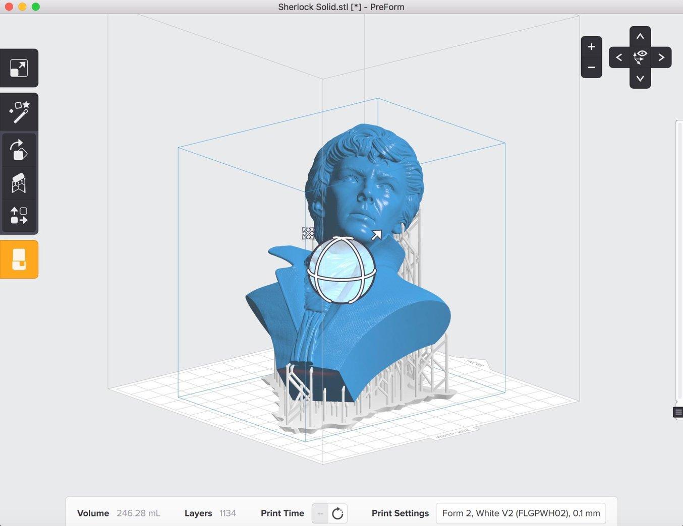 Orienta el modelo en PreForm para que la impresión se desarrolle lo mejor posible, teniendo en cuenta la ubicación de los posibles orificios de ventilación.