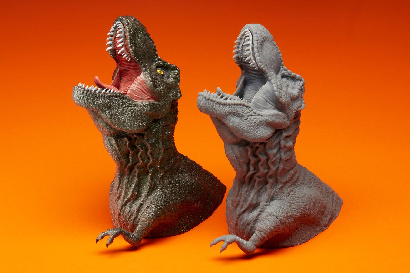Side by side comparison on the before and after painting a 3D printed dinosaur miniature.