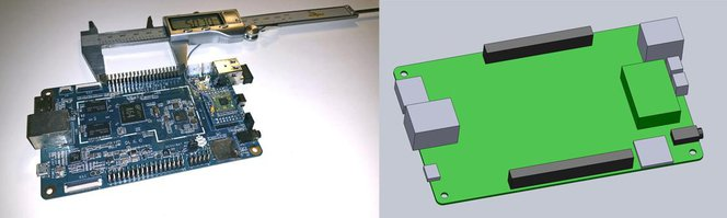 Measure your electronic component (left). Begin your 3D model with basic boxes (right).