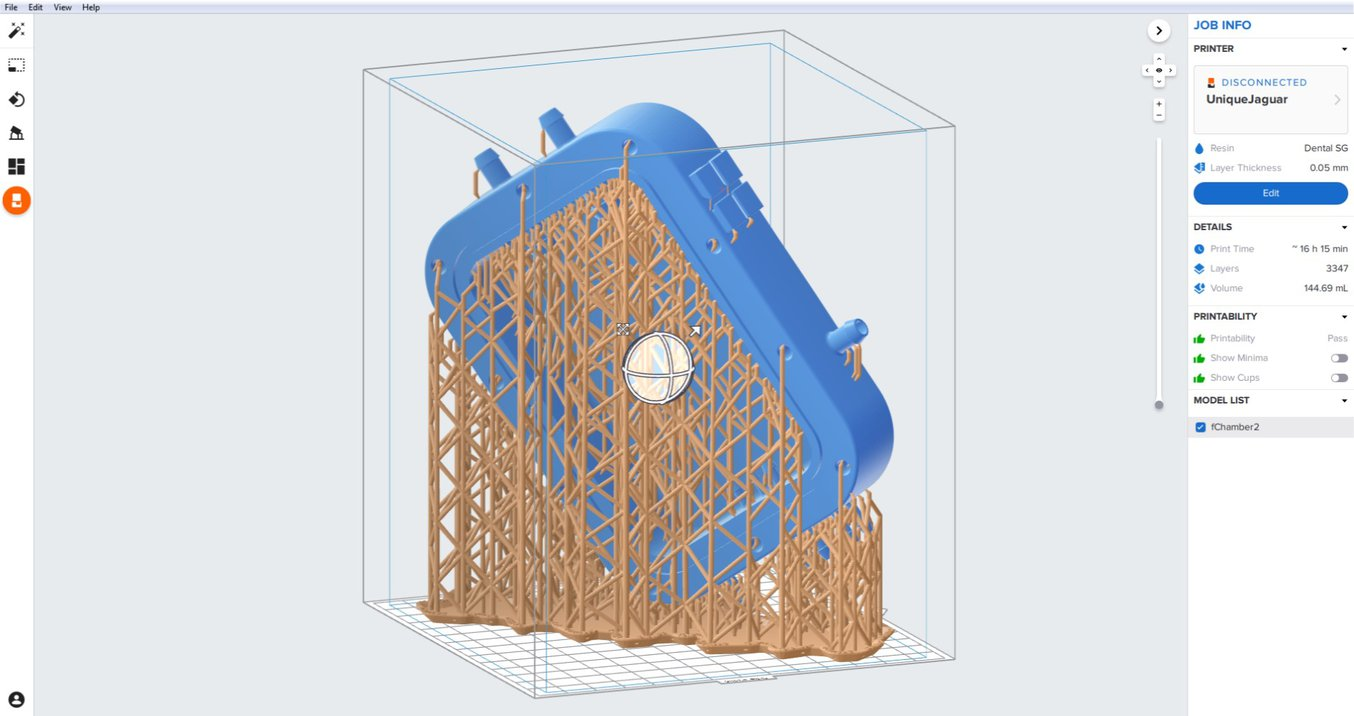 bioreactor - Design of a bioreactor for growing a miniature tissue-engineered aorta for use in testing new medical devices. The setup in Formlabs' PreForm software makes use of the full build volume offered by the Form 2 (SLA) printer.