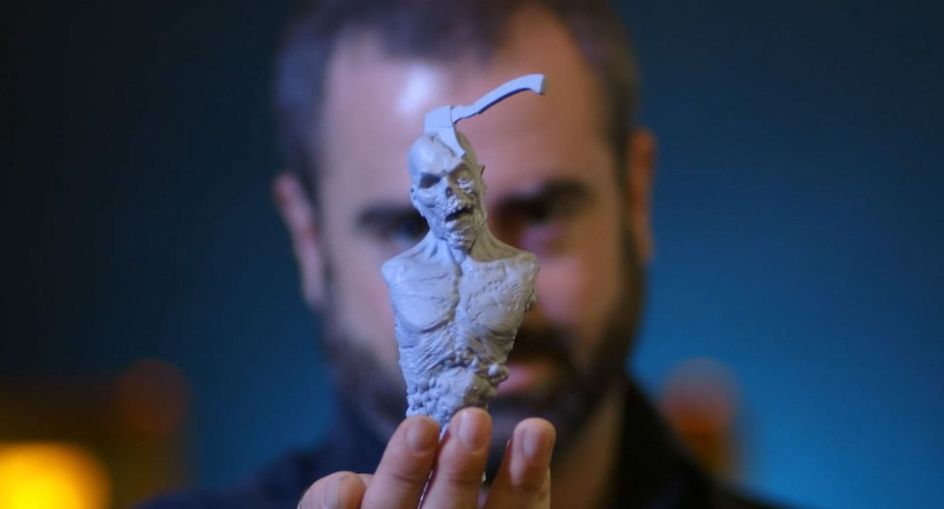 Creature and concept designer Jared Krichevsky uses a stereolithography (SLA) 3D printer to facilitate bringing digital models to life at Aaron Sims Creative.