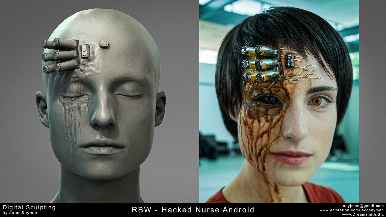 Hacked android in Raised by Wolves. Digital sculpt on the left and final prosthetic on the right.