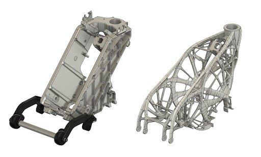 À l'aide des outils de conception générative d'Autodesk, il a été possible de fusionner les quatre composants d'un assemblage, ce qui a réduit le poids et la durée d'assemblage.