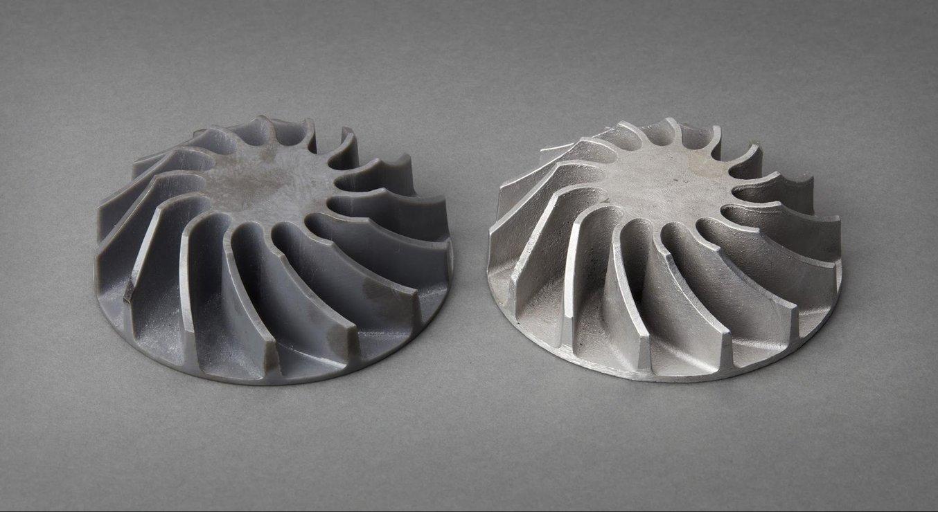 Un moule pour pale rotative imprimé en 3D. Visionnez notre webinaire pour savoir comment réaliser des modèles à bas coût pour le moulage en sable et à modèle perdu.