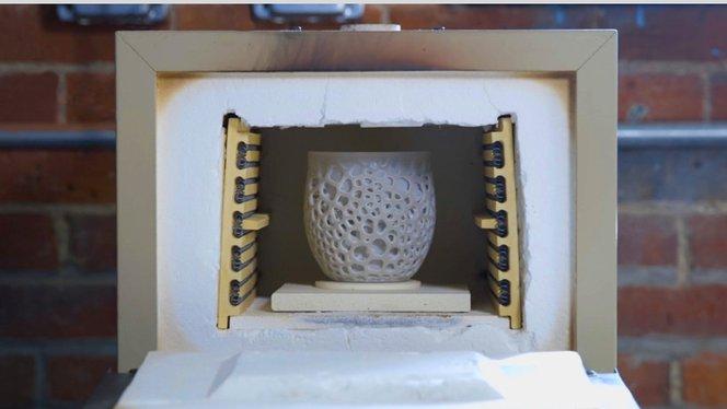 Burning Ceramic 3D printed part - Fire