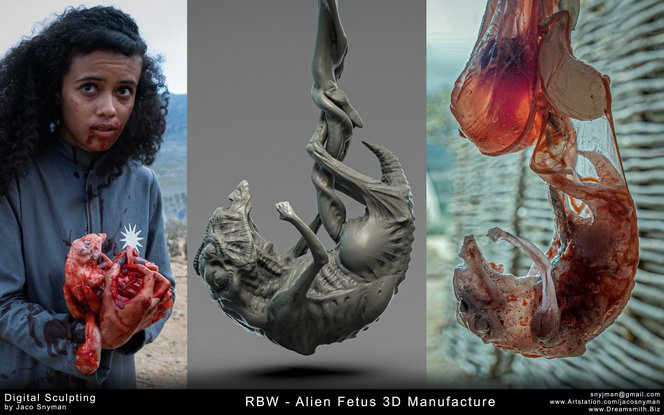 Prototype and final prop of 3D manufactured alien fetus.