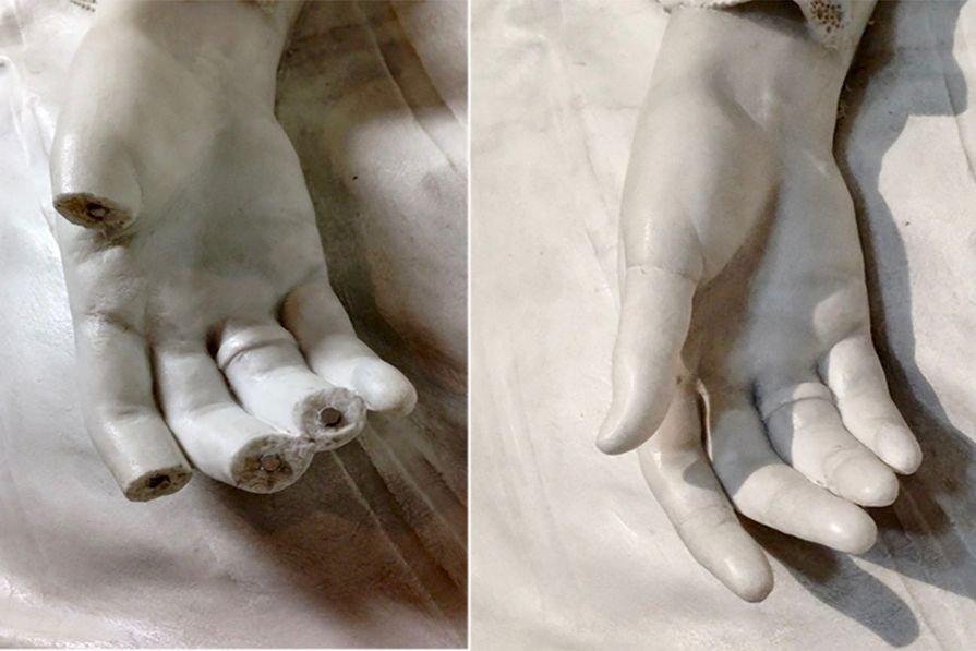 I restauri finali stampati in 3D sono stati attaccati mediante piccoli magneti: un metodo non invasivo e reversibile.