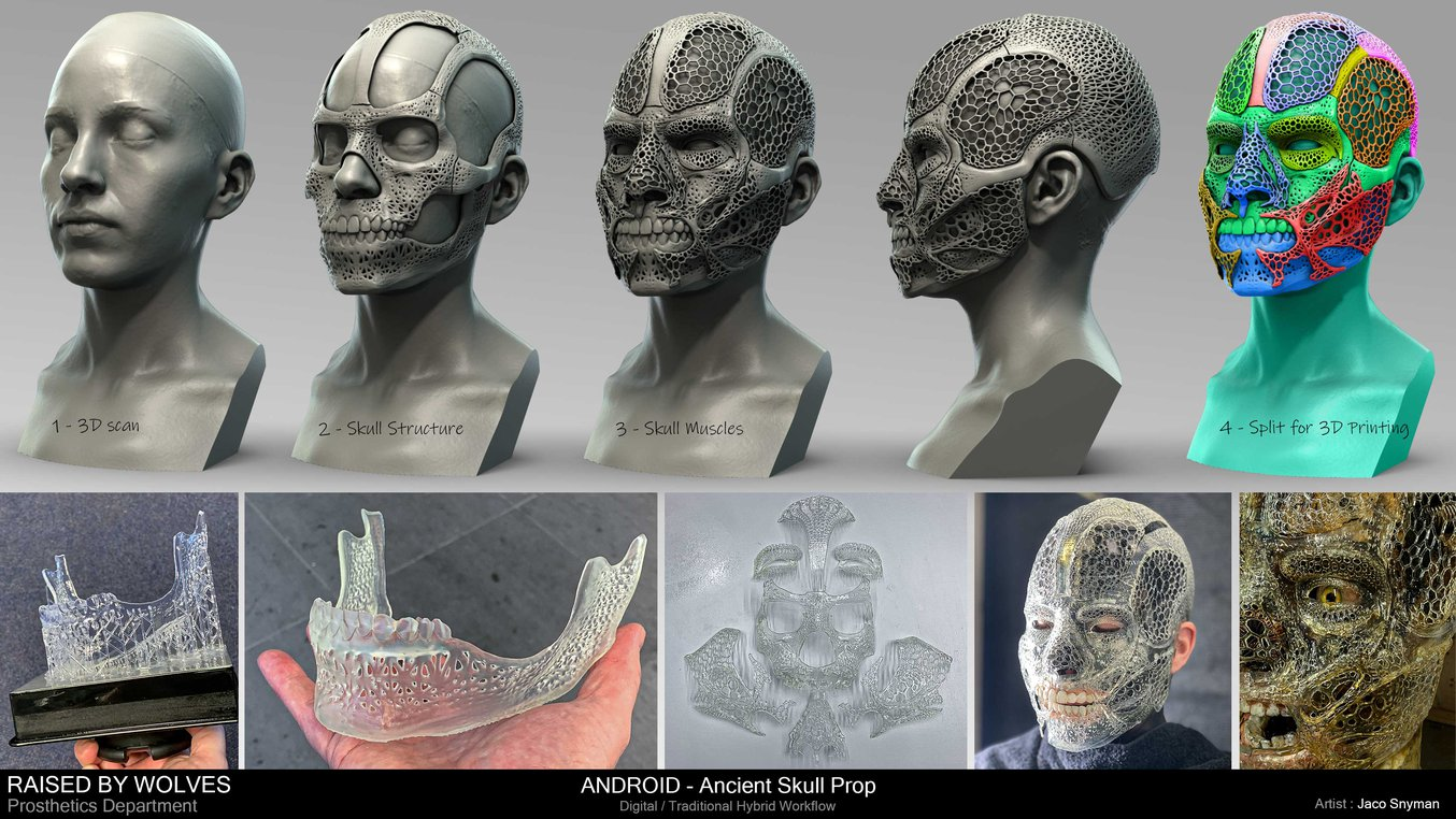 Step by step of ancient skull prop-making with 3D printing.