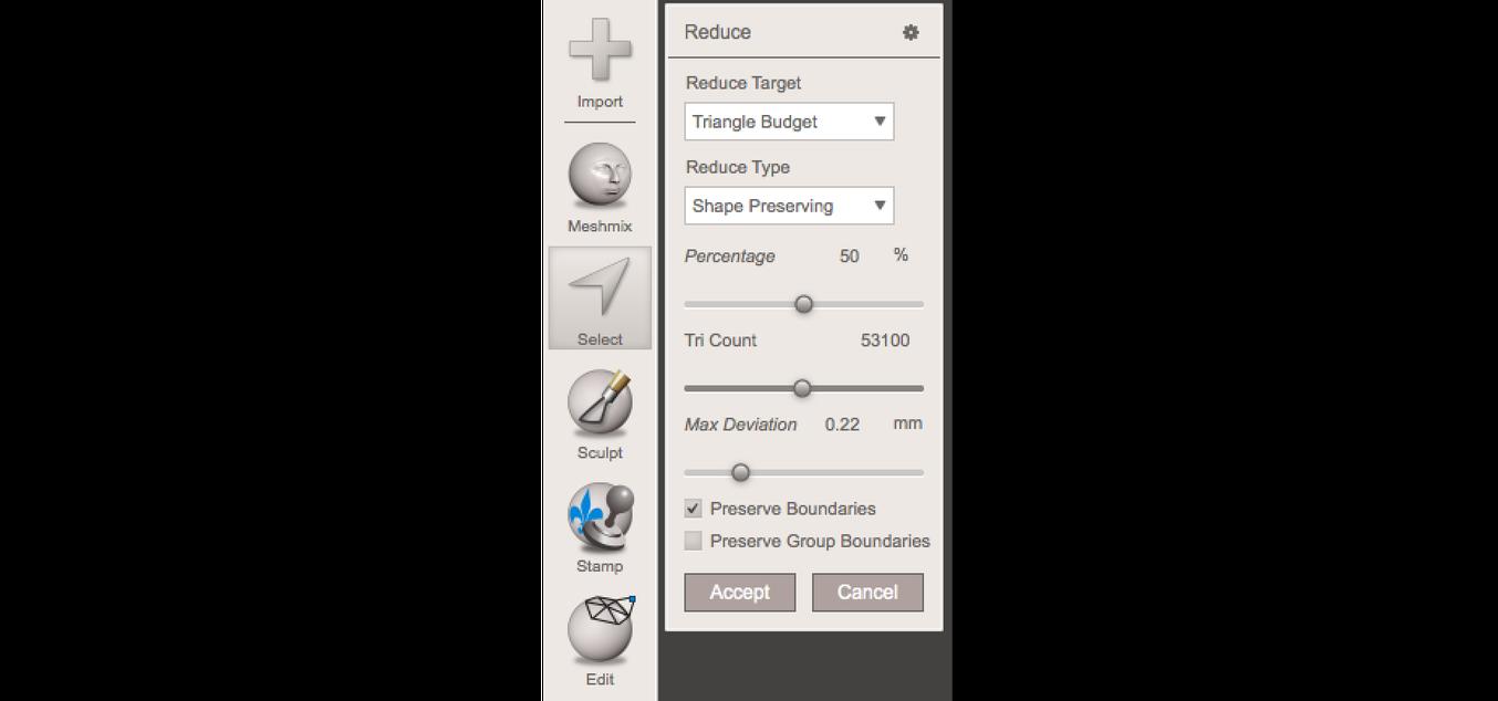 Conseil : Si vous avez besoin de plus de contrôle, Meshmixer est un bon choix pour raffiner les maillages scannés.