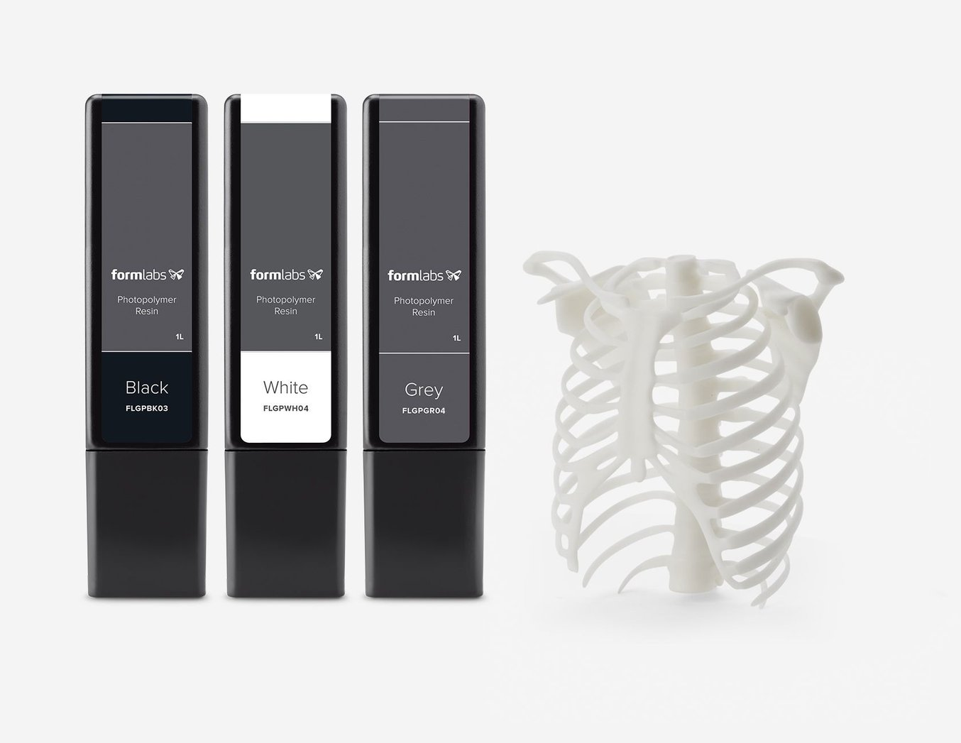 Formlabs Greyscale Resins - Black, White and Grey and White Skeleton sample part