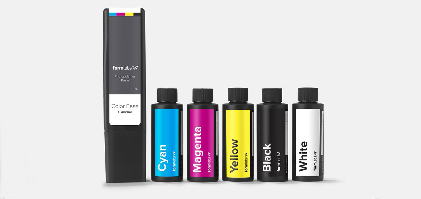Each Color Kit includes a Color Base cartridge, five bottles of Color Pigment, syringes for easy measurement, and a Recipe Book.
