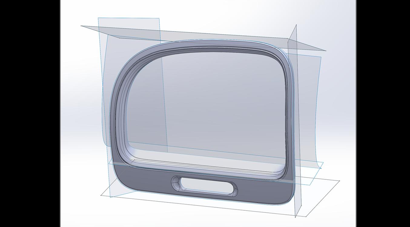 Un écran de Geomagic pour Solidworks montrant le résultat de l'extraction de surface, après réduction par découpage.