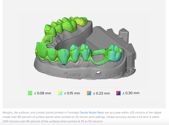 An example from the dental industry comparing a scanned component with the original CAD geometry, demonstrating the ability to maintain tight tolerances across an SLA printed part.