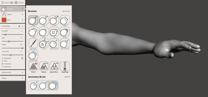 Meshmixer tutorial - Basic volume brushes transformed this arm model into a softer one that will fit our Venus of Milo model better.