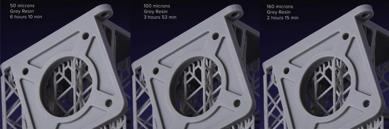 La Grey Resin ahora puede imprimir con una altura de capa de 160 mm. Comprueba la diferencia de velocidad y de tiempo de primera mano.