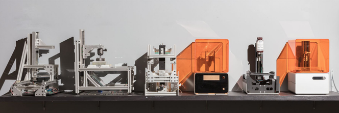 Prototypes of the Form 1, the first desktop SLA 3D printer.