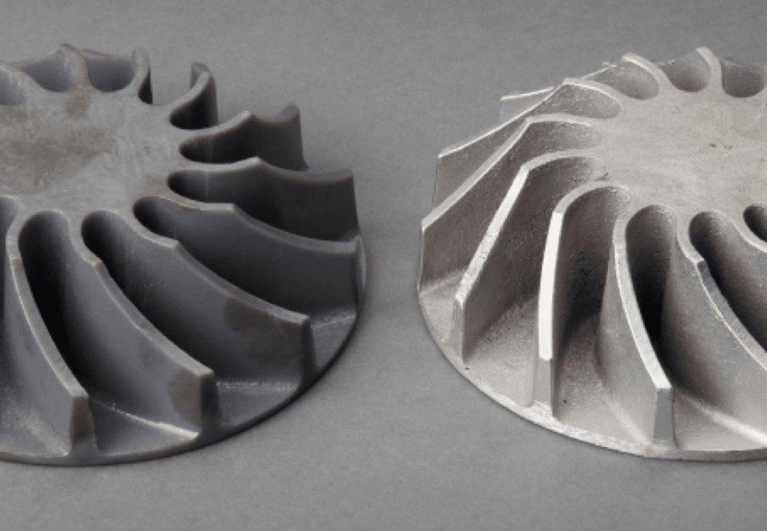 Patrón impreso con la Grey Resin (izquierda) y fundición de aluminio acabada a partir de un molde de arena abierto (derecha).