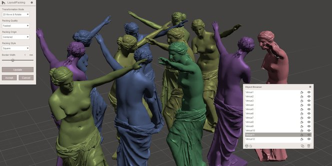 Meshmixer tutorial - MeshMixer's Packing algorithm optimizes the layout to save space when 3D printing multiple objects.