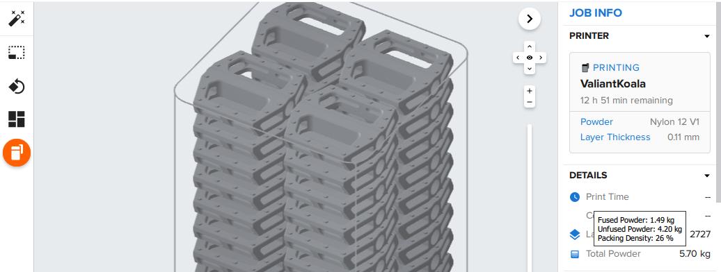 Usa PreForm, nuestro software de preparación de impresiones, para comprobar la cantidad de polvo fundido y polvo sin fundir, así como la densidad de compactación, en cualquier impresión de la Fuse 1.