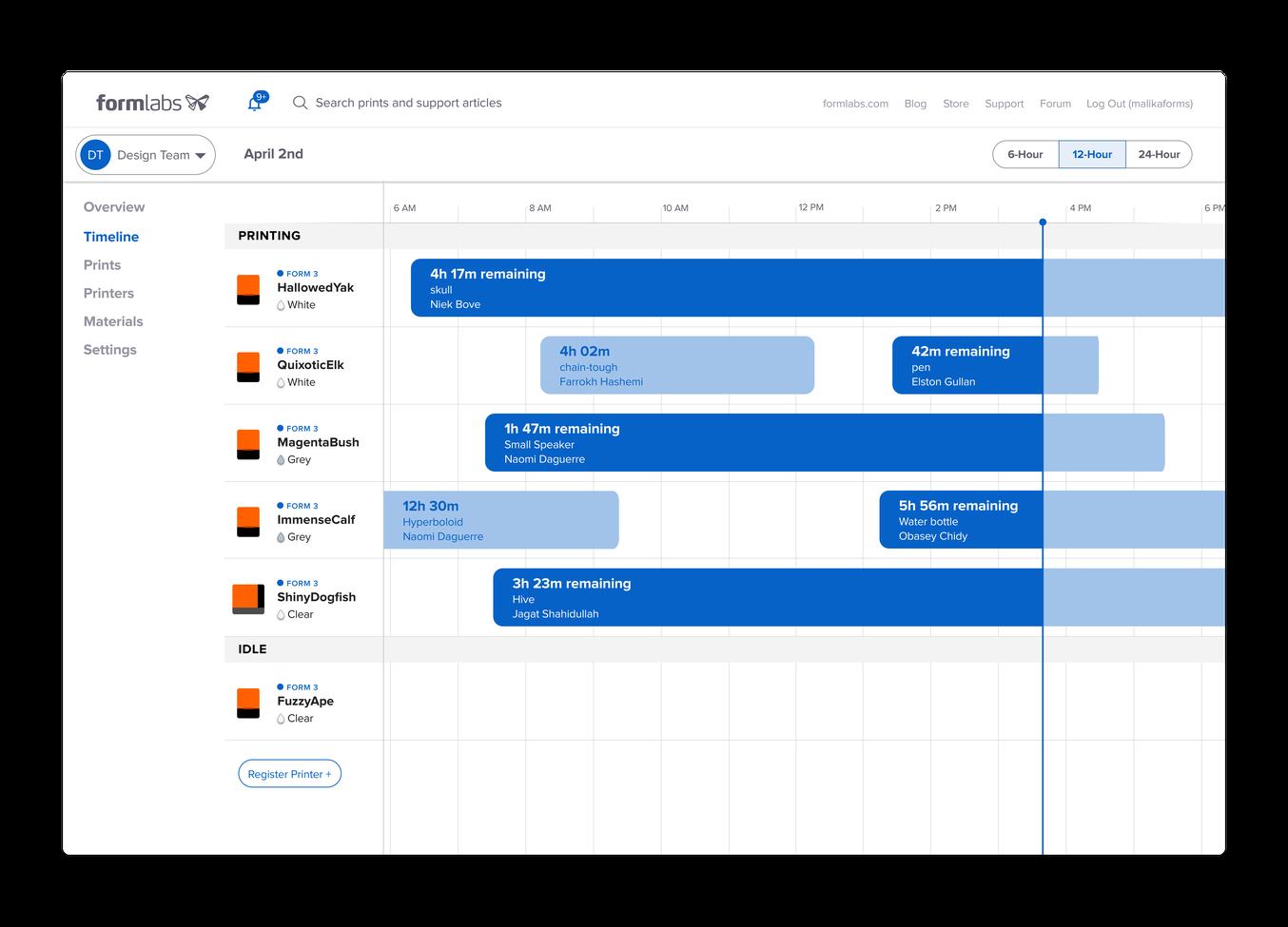 Formlabs Dashboard Printscreen